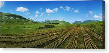 Cut Turf On A Landscape, Connemara Canvas Print by The Irish Image Collection