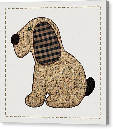 Cute Country Style Gingham Dog Canvas Print by Tracie Kaska