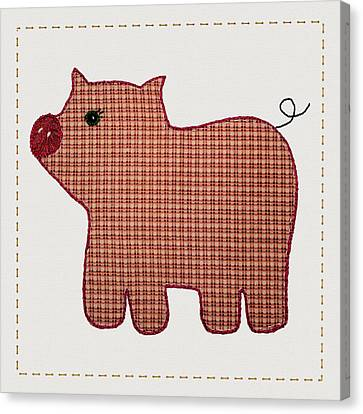 Cute Country Style Pink Plaid Pig Canvas Print by Tracie Kaska