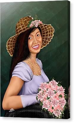 Cute Flower Girl Canvas Print by Dumindu Shanaka