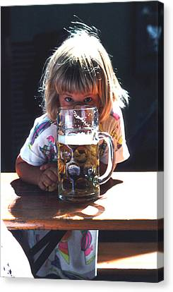 Canvas Print featuring the photograph Cute Little Girl At Beer Garden Munich by Tom Wurl