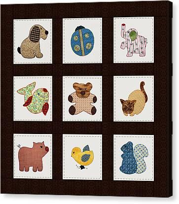 Cute Nursery Animals Baby Quilt Canvas Print by Tracie Kaska