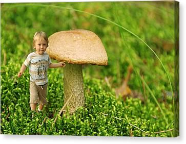 Cute Tiny Boy Playing In The Forest Canvas Print by Jaroslaw Grudzinski