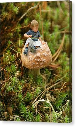 Cute Tiny Boy Sitting On A Mushroom Canvas Print by Jaroslaw Grudzinski