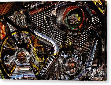 Cyberpunk Harley-davidson Modified In Abstract . 7d12658 Canvas Print by Wingsdomain Art and Photography