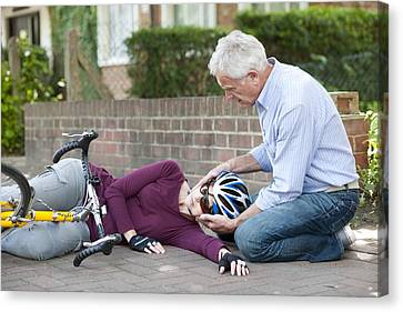 Cycling Accident Canvas Print by