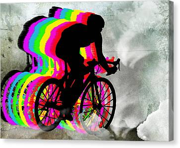 Cyclists Cycling In The Clouds Canvas Print