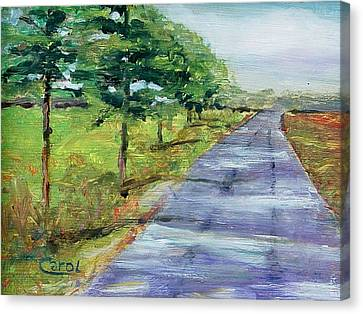 Canvas Print featuring the painting Cypress Lane by Carol Berning