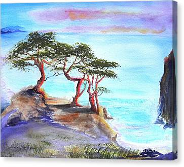 Cyprus Trees On California Coast Canvas Print by Susan  Clark