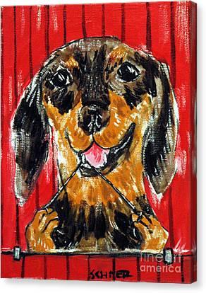 Dachshund Flossing Canvas Print by Jay  Schmetz