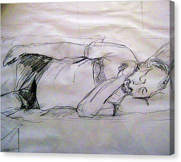 Dad Sleeping Canvas Print by Iris Gill