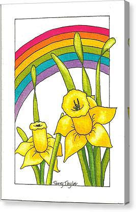 Canvas Print featuring the painting Daffodils And Rainbows by Terry Taylor