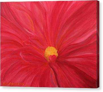 Canvas Print featuring the painting Dahlia Macro by Janet Greer Sammons