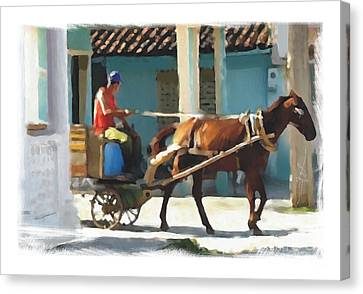 daily chores small town rural Cuba Canvas Print by Bob Salo