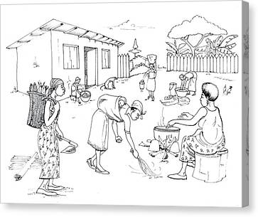 Daily Life In South And Center Cameroon 10 Canvas Print by Emmanuel Baliyanga