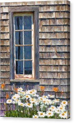 Daisies And Daylilies Canvas Print by Verena Matthew