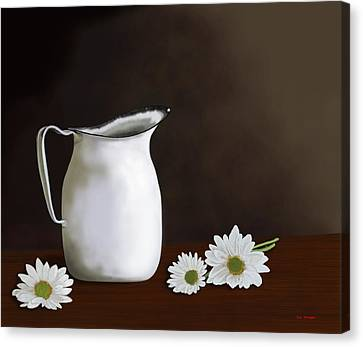 Daisies And Pitcher Canvas Print by Tim Stringer