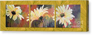 Canvas Print featuring the painting Daisies Three by Susan Fisher