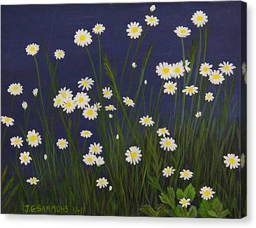 Canvas Print featuring the painting Daisy Field by Janet Greer Sammons