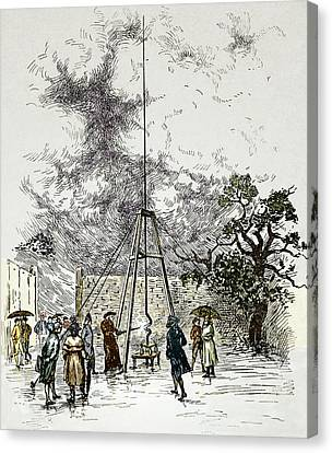 Lightning D Canvas Print - Dalibard's Lightning Experiment, 1752 by Sheila Terry