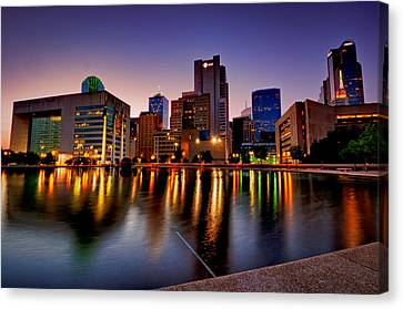 Canvas Print featuring the photograph Dallas City Hall Plaza by John Maffei