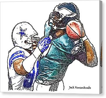 Dallas Cowboy Demarcus Ware - Philadelphia Eagles Michael Vick Canvas Print by Jack K