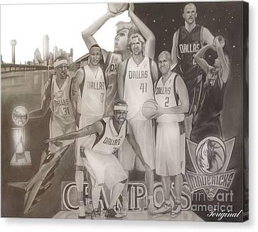 Dallas Mavericks Champs Canvas Print by Teriginal Washington