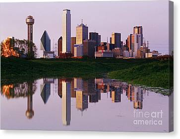 Dallas Skyline Reflected In Pond At Dusk Canvas Print