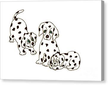 Dalmatian Puppies Canvas Print by Rachel Lowry