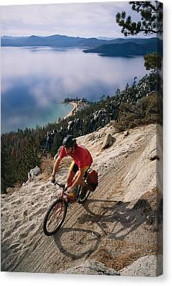 Dan Mccoy Biking The Flume Trail Canvas Print by Rich Reid