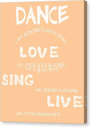 Dance Like Nobody's Watching - Peach Canvas Print by Georgia Fowler