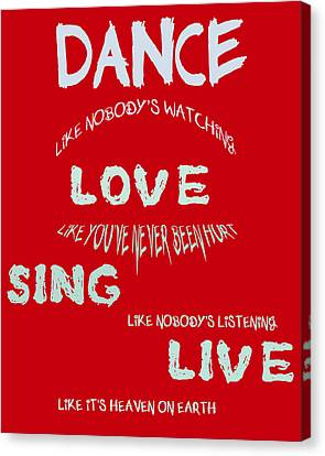 Dance Like Nobody's Watching - Red Canvas Print by Georgia Fowler