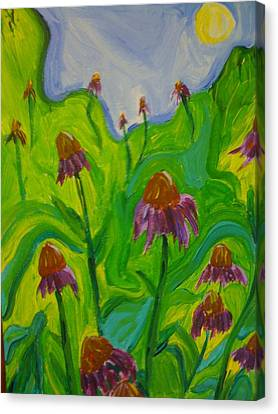 Abstracted Coneflowers Canvas Print - Dance Of The Coneflowers by Stephanie Mills