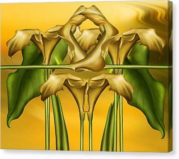 Dance Of The Yellow Calla Lilies II Canvas Print by Georgiana Romanovna