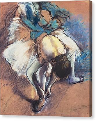 Tying Shoe Canvas Print - Dancer Fastening Her Pump by Edgar Degas