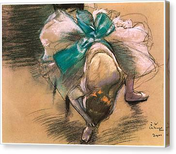 Tying Shoe Canvas Print - Dancer Tying Her Shoe Ribbons by Edgar Degas