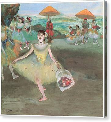 Dancer With A Bouquet Bowing Canvas Print by Edgar Degas