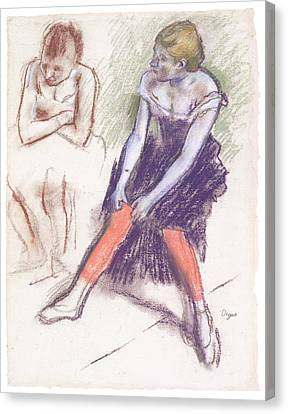 Dancer With Red Stockings Canvas Print by Edgar Degas