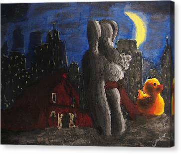 Canvas Print featuring the painting Dancing Figures With Barn Duck And Cityscape Under The Moonlight.  by M Zimmerman