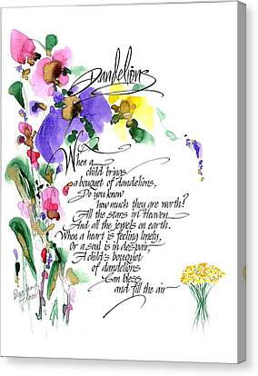 Dandelions Poem And Art Canvas Print