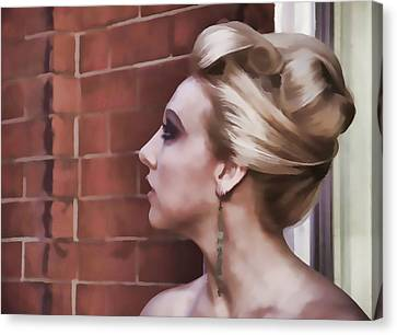 Woman Lady Beauty Classic Portrait Updo Blonde Canvas Print - Dangling Earring by Alice Gipson