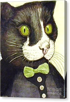 Black Tie Canvas Print - Dapper Dude by DJ Laughlin