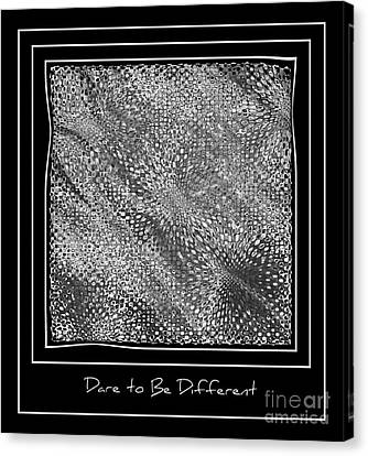 Dare To Be Different - Black And White Abstract Canvas Print by Carol Groenen