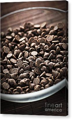 Dark Chocolate Chips Canvas Print by Elena Elisseeva