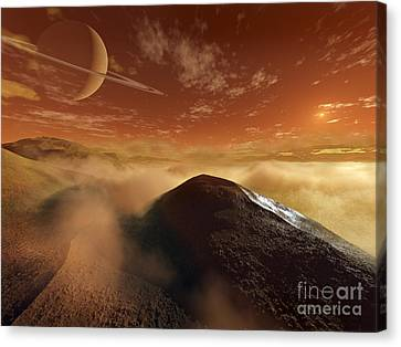 Dark Dunes Are Shaped By The Moons Canvas Print