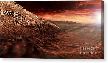 Dark Dunes March Along The Floor Canvas Print by Steven Hobbs