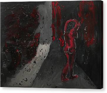 Canvas Print featuring the painting Dark Raining Brooding Alley Chick by M Zimmerman