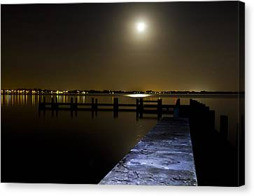 Darkness On The Bradenton Bay Canvas Print by Nicholas Evans