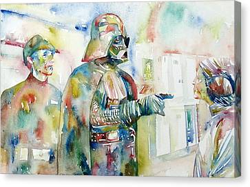 Darth Vader And Princess Leia Portrait Canvas Print by Fabrizio Cassetta