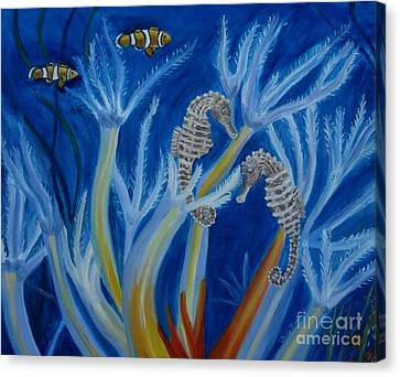 Canvas Print featuring the painting Date Night On The Reef by Julie Brugh Riffey